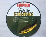 Vintage Rapala Fishing Lures Porcelain Sign Man Cave 12andrdquo Round Gas And Oil