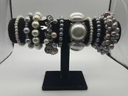 Costume Jewellery Bundle X9 Bracelets Pearlescent Theme Stretch Faux Pearl Mixed