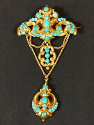 14kt Gold And Persian Turquoise Victorian Mourning Memento Hair Brooch Pin