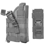 Grey Molle Pistol Holster With 2 Pocket Magazine Pouch For Glock Sig Hk Ruger