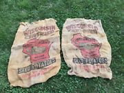 Vintage Set Of 2 Wisconsin Badge State Seed Potatoes Bags 100 Lbs Usa