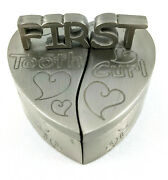 Baby's First Tooth And First Curl Pewter Heart Keepsake Boxes Baby Milestones De