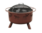 29 High Heat Sand Steel Wildlife Large Deep Bowl Fire Pit Outdoor Wood Burning
