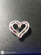 14kt Solid White Gold Floating Heart Filled With Diamonds And Rubyshallmarked14