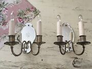 Pair Of Antique Etched Mirrored Sconces 1930-1950 Shabby Chic 1