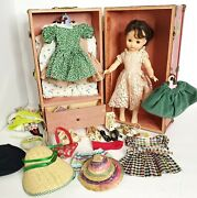 Vintage 50s 14 Ideal Doll P-90 Chest Steamer Trunk W/ Clothing And Accessories