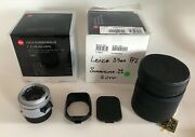 Leica 35mm F2 Summicron-m Asph E39 Lens Silver Box Made In Germany Mint-