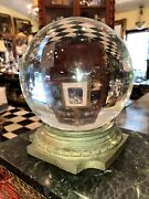 Antique Classical Bronze Pediment Crystal Ball Oracle Paranormal Huge 10 1/2andrdquo