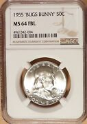 1955 Franklin Half Dollar Ngc Graded Ms64 Fbl And039bugs Bunnyand039 Variety 004.