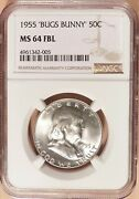 1955 Franklin Half Dollar Ngc Graded Ms64 Fbl And039bugs Bunnyand039 Variety 005.