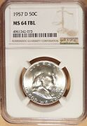 1957-d Franklin Half Dollar Ngc Graded Ms64 Fbl 99 White And Lustrous 073.