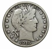 1915d Silver Barber Half Dollar 50andcent Coin