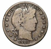 1902s Silver Barber Half Dollar 50andcent Coin