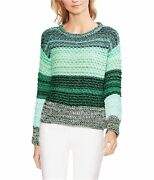 Vince Camuto Womens Striped Colorblock Pullover Sweater Green Medium