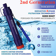Portable Survival Water Filter Straw 4-stage Filtration Camping Hiking Emergency