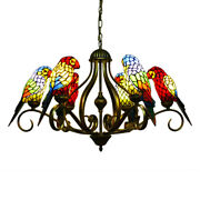 Style Stained Glass Parrot Chandelier Wrought Iron Pendant Ceiling Light