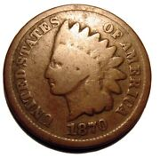 Old Us Coins 1870 Indian Head Cent Key Better Date Penny