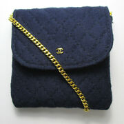 Quilted Mini Chain Shoulder Bag Pouch Navy Gold Hardware Ladies