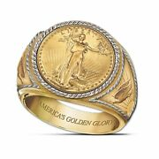 Vintage Fashion Yellow Gold Filled Coin Rings For Men Wedding Jewelry