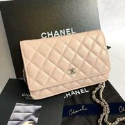 Quilted Chain Wallet Pink Flap Limited Color Caviar Skin W/box Cleaned
