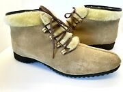 Vintage Tan Hush Puppies Ankle Boots Suede Faux Fur Lined Chukka Boots Size 8.5