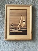 Hudson River Inlay Marquetry Art Signed Nelson Lighthouse Wave And Sailboat 10x13