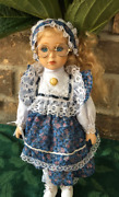 Vtg German Doll Schoolgirl Blonde W Clothes Hand Painted 12 Collectible