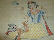 Simply Adorable Snow White 7 Dwarfs Baby Quilt Antique Vtg Hand Embroidery Crib