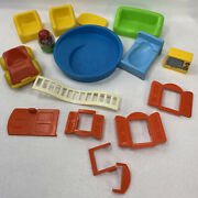 Weebles Cottage House Playset Vintage Accessories Tv 591 Parts Lot Window Pool