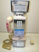 Vintage Automatic Electric Company 3 Slot Pay Phone Tan With Top Flag And Keys