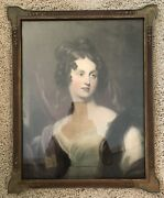 Lovely Compelling George Romney Era Framed Portrait Color Print Beautiful Lady