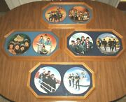 Lot Of 8 Bradex 1992 Beatles Collection Plates 1-8 Mounted Wood Framed Glass