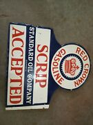 Porcelain Red Crown Gasoline Sign Size 29 X 25 Inches Double Sided Flange