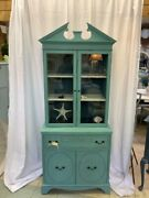 Antique Painted Blue China Cabinet Glass Doors Bookcase Display White Shelves