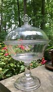 Antique Central Glass Dot And Dash Eapg Covered Compote Pressed Sandwich Glass
