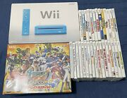 Nintendo Wii Blue Game System Console With 30 Games Arcade Stick And Accessories