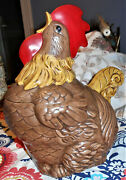 Gilner Cali Pottery Signed Ruth Davenport Large Crowing Rooster Cookie Jar 1950s