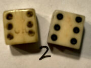 Authentic Revolutionary War Era Pr. Bone Dice W/ Partial Crown And Gr Stamps 5/16andrdquo