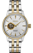 Brand New Seiko Menand039s Presage Automatic White Dial Two Tone Band Watch Ssa358