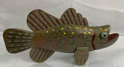 Vintage Wooden And Tin Fish Decoy Rainbow Trout