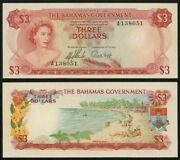 L1965 Bahamas 3 Dollars Queen Elizabeth Ii Signed Sands And Higgs Uncirculated