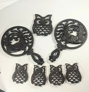 Set Of 7 Vintage Cast Iron Crowing Rooster Owl Trivets Wall Decor