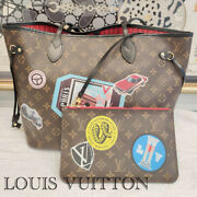Louis Vuitton Neverfull Mm Tote World Tour Limited Leather W/pouch Ladies Auth