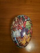 Vintage German Paper Mache Easter Egg Candy Container Rabbits And Friends 6x4