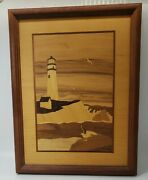 Hudson River Inlay Wood Marquetry- Pigeon Point Lighthouse, California By Nelson
