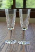 2 Waterford Crystal Lismore 7 1/4 Champagne Flute Glasses