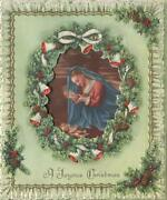 Vintage Christmas Wreath Pine Cones Bells Faux Lace Madonna Christ Greeting Card