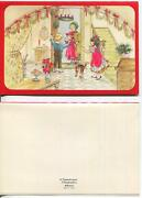 Vintage Christmas Parlor Chandelier Cat Garland Candle Stairs Art Greeting Card