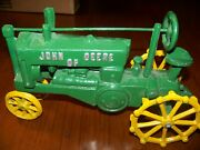 Vintage Cast Iron Toy Tractor Green With Yellow Wheels Old Antique John Deere