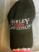 Mens Harley Davidson Orlando Red White And Black Baseball Cap Hat One Size Read
